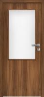 Jednokřídlé dřevěné dveře prosklené 2/3 v ocelové nebo obložkové zárubni