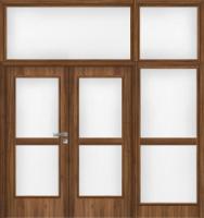 Dvojkřídlé dřevěné dveře plné, kazetové i prosklené s bočním světlíkem i nadsvětlíkem